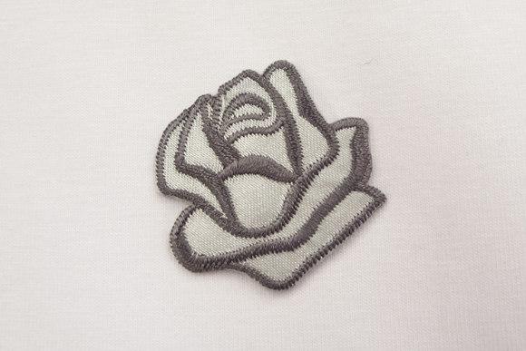 Grey rose patch size 3,5 cm