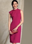 Vogue 1513.  Asymmetrical Draped-Neck Dress - Badgley Mischka.