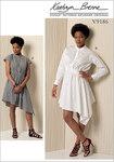 Stand-up Collar, Diagonal Waist-Detail Dresses - Kathryn Brenne