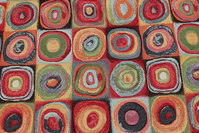 Beautiful opholstry fabric with graphical circle-pattern in multicolors