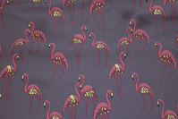 Elegant grey jacket-taffeta with soft red flamingos