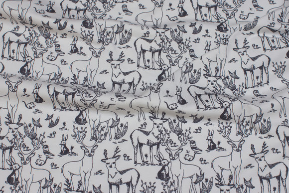 Off white organic cotton-jersey with grey line deer