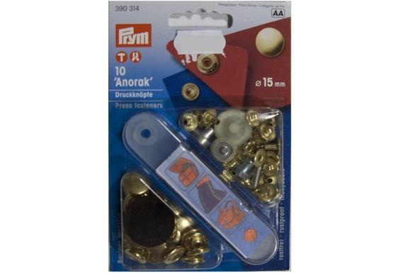 Brass snap fasteners 15 mm