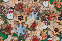 Christmas-cotton-jersey with lovely christmas-cakes