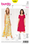 Burda 6496. Dress, High Waist, Wrap Look.