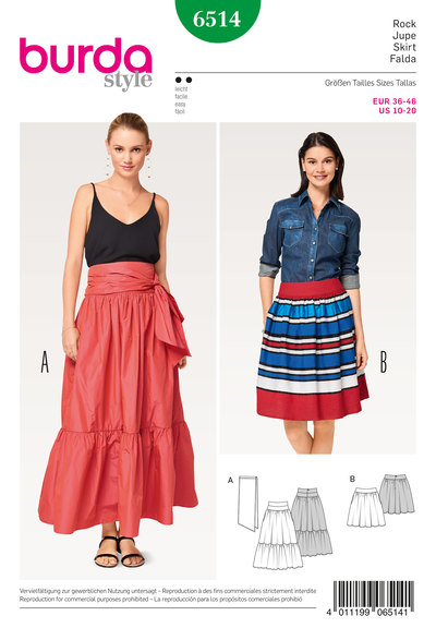 Skirt with Yoke– Tiered Skirt, Tie Band