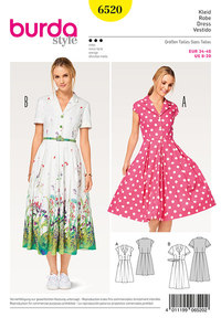 Burda 6520. Dress, Shirt Blouse Style, Pleated Skirt.