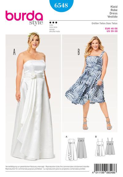 Bodice Dress, Strap Dress, Wedding Gown, Full Skirt, Wrap Look