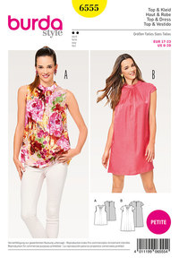 Burda 6555. Top, Dress, Loose-Fit Dress, Stand Collar, Petite/Short Sizes.