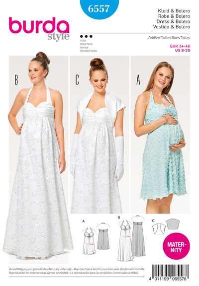 Maternity Dress, Wedding Dress, Halter Neck Dress, Bolero