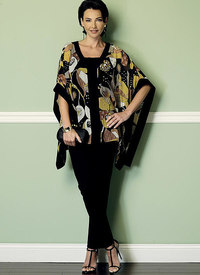 Butterick 6424. Banded Ponchos, Sleeveless Top, and Pull-On Skirt and Pants.