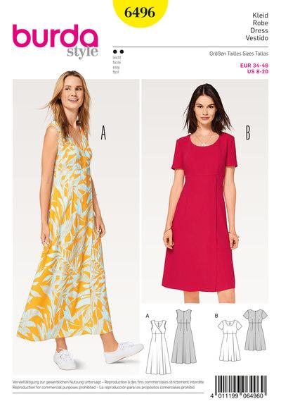 Dress, High Waist, Wrap Look