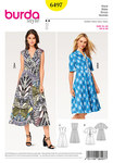 """Chic summer dresses with a nipped waist, over-cut shoulders and a wide, swingy skirt. View A is sleeveless and designed with a V-neck. View B features turn-up short sleeves, a spade collar and interesting lacing. AB: Fusible interfacing, 36"""" (90 cm) wide, A: 14"""" (35 cm), B: 26"""" (65 cm). AB: Invisible zipper, 16"""" (40 cm) long. B: 8 eyelets. 1-3/4 yds (1.50 m) cording."""