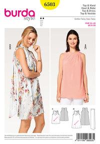 Top, Dress, Angled Pleat, Scarf. Burda 6503.