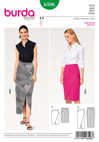 Narrow Skirt, Wrap Look –Shaped Waistband. Burda 6506.