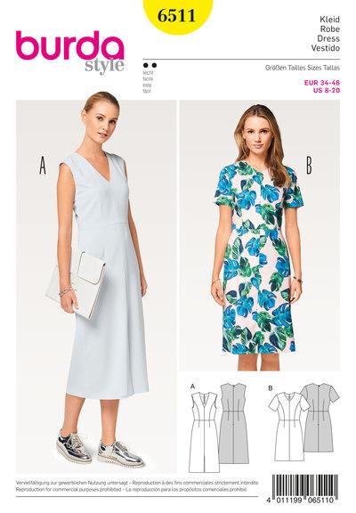 Dress, V-Neck, 4-Panel Skirt