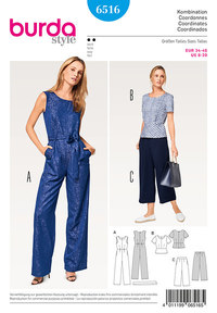 Jumpsuit, Top, Pants/Trousers. Burda 6516.
