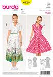 Burda 6520. Dress, Shirt Blouse Style, Pleated Skirt.