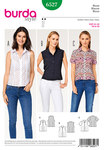"Darts at the waist fit these airy summer blouses to your figure. Choose between a shirt collar or a stand collar, the sleeveless  version or with sleeve bands and short sleeves. ABC: Fusible interfacing, 36"" (90 cm) wide, 22"" (55 cm). 7 buttons. Bias tape, 1-5/8"" (4 cm) wide, 40""- 46"" (100 – 115 cm)."