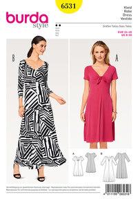 Dress, Jersey Dress. Burda 6531.