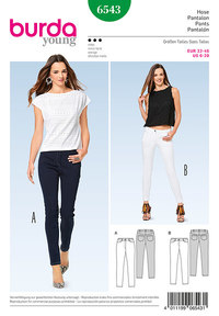 Skinny Pants/Trousers, Jeans. Burda 6543.