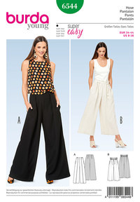 Pants/Trousers, Wide Legs. Burda 6544.