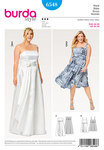Burda 6548. Bodice Dress, Strap Dress, Wedding Gown, Full Skirt, Wrap Look.