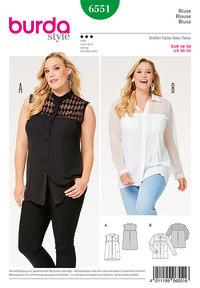 Blouse, Shirt Blouse, Stand Collar, Collar with Collarband . Burda 6551.