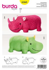 Stuffed Animals, Hippo, Rhino, XXL-Stuffed Animal. Burda 6560.