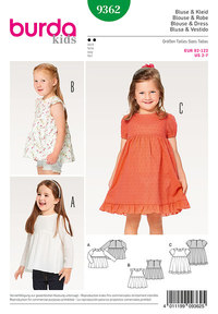 Blouse,  Dress, Pinafore, Gathered Skirt, Hem Frill. Burda 9362.