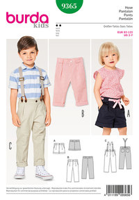 Pleated Trousers with Elastic Waistband , Suspenders, Shorts. Burda 9365.