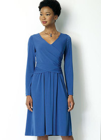 Ruched, Surplice Dress. Butterick 6411.