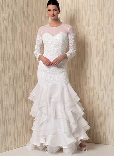 Sweetheart-Neckline Gowns with Flounces