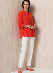 Banded Tunic with Yoke and Tapered Pants - Anne Klein