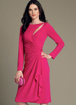 Very close-fitting mock-wrap dress has back invisible zipper, foundation with boning, long sleeves, cutout, bateau neckline, gathered waist, and hook and eye tape. For moderate stretch knits only.
