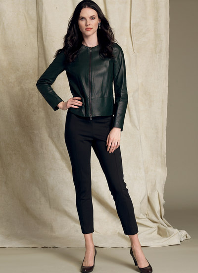 Collarless Seamed Jacket and Pull-On Pants - Anne Klein