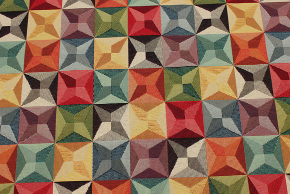Beautiful opholstry fabric with graphical pattern in multicolors