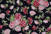 Black patchwork-cotton with light red roses