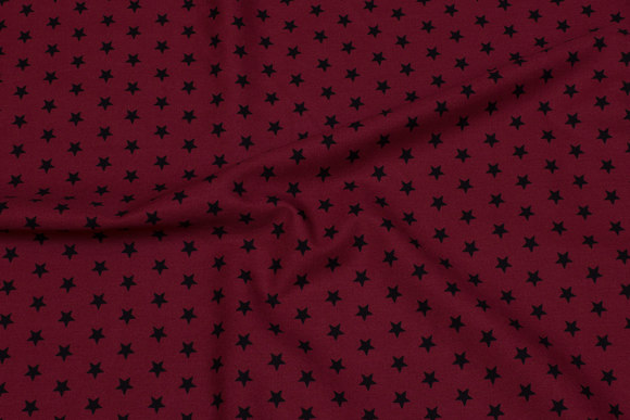 Bordeaux cotton with 1 cm black stars