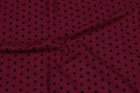 Bordeaux cotton with 1 cm black stars