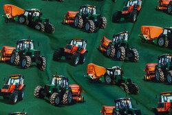 Dark green cotton-jersey with ca. 8 cm tractors