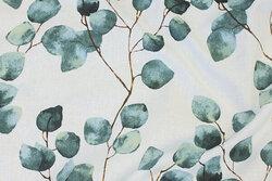 Deko-fabric in white with sea-green leaves
