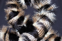 Faux fake fur piece in black with pheasant-look ca. 20 x 150 cm