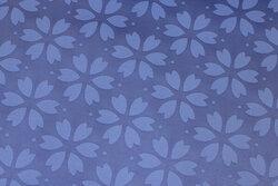 Lavendar-blue textile-table-cloth with ca. 7 cm flowers