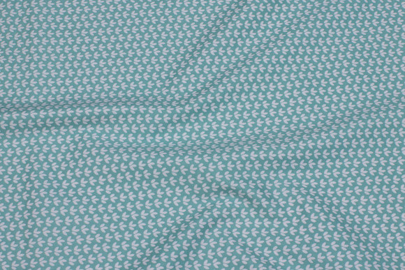Mint-green cotton with small white pattern