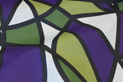 Textile-table-cloth in green and white and purple
