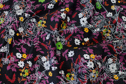 Black stretch-corduroy with flowers and white print