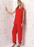 Loose-fitting, pullover tunic has seam detail, front inseam pocket, and narrow hem by hand. A: Bias neck, sleeveless, and armhole facings. B: Three-quarter length dolman sleeves and collar. Tapered pants (loose-fitting through hips) have elasticized waist, yoke, pockets, and front extending to side-back, no side seams. D: Stitched hems.
