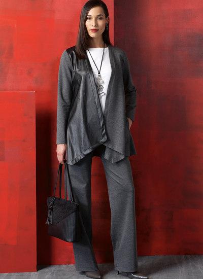 Shaped-Hem Jacket and Vest, Top, Dress, Mock-Wrap Skirt and Pants