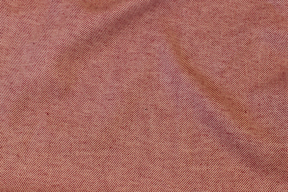Herringbone-weave linen and cotton in wine-red and off white